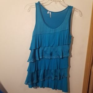 Turquoise bling ruffle tank small